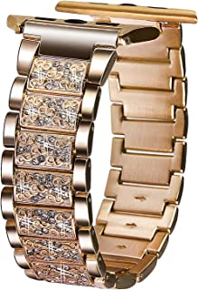 VIQIV Bling Bands for Apple Watch 38mm 40mm 42mm 44mm Iwatch Series 4 3 2 1, Diamond Rhinestone Stainless Steel Metal Bracelet Wristband Strap for Women