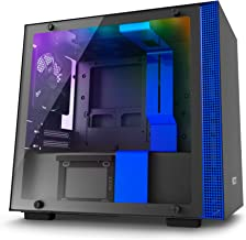 NZXT H200i - Mini-ITX PC Gaming Case - RGB Lighting and Fan Control - CAM-Powered Smart Device - Tempered Glass Panel - Enhanced Cable Management System – Water-Cooling Ready - Black/Blue