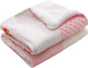 Winthome Baby Sherpa Blanket Throw,Super Soft Warm,Baby Play Mat,Pink Bunny Blanket(0~12months)