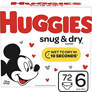 Huggies Snug & Dry Baby Diapers, Size 6 (fits 35+ lb.), 72 Count, Giga Jr Pack (Packaging May Vary)