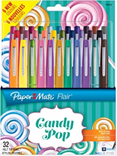 Paper Mate Flair Candy POP Pens, Medium Point, Assorted Colours, 32 Pack