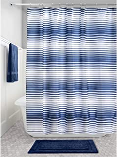 "iDesign Enzo Stripe Fabric Bathroom Shower Curtain - 72"" x 72"", Navy/White"