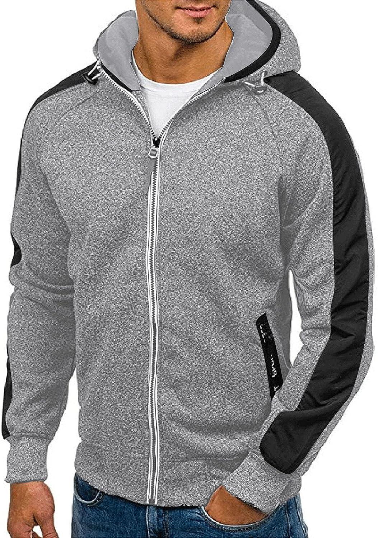 HONGJ Zipper Hoodies for Mens, Long Sleeve Color Block Hooded Sweatshirts Fall Drawstring Slim Fit Jackets with Hood