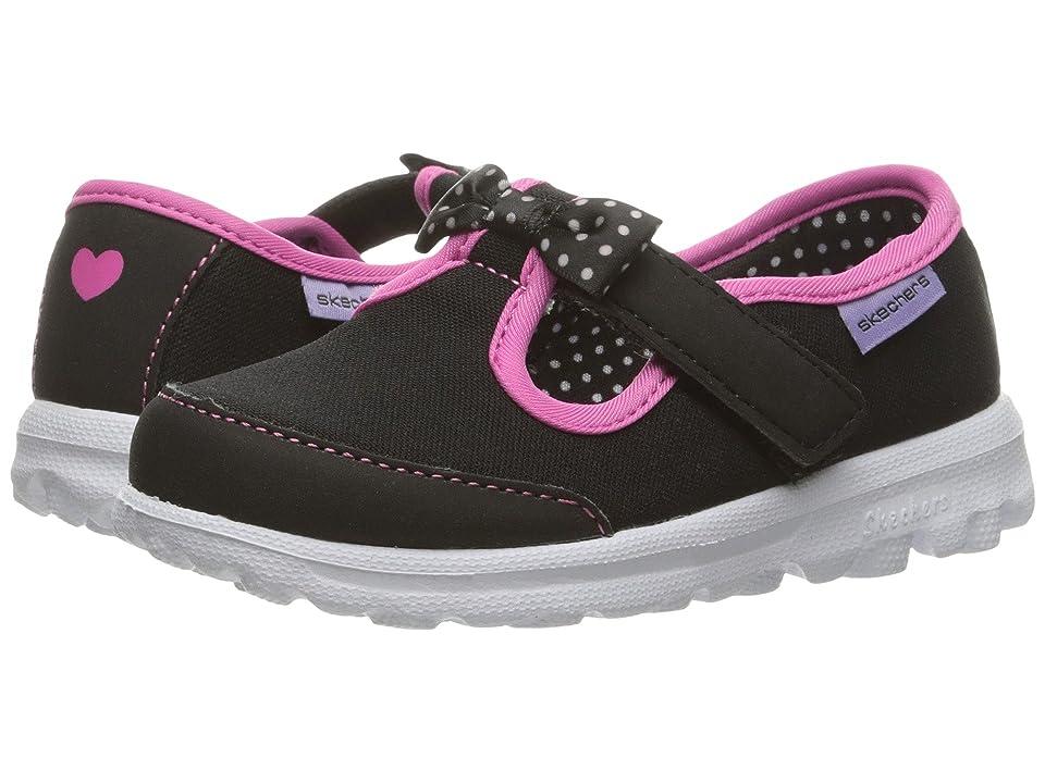 SKECHERS KIDS Go Walk Bitty Bow (Toddler/Little Kid) (Black/Hot Pink) Girl