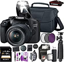 $369 Get Canon EOS 2000D (Rebel t7 International Model) DSLR Camera and EF-S 18-55 mm f/3.5-5.6 is II Lens + 64GB Memory Card + Camera Bag + Cleaning Kit + Table Tripod + Flash + Filters