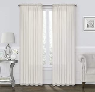 GoodGram 2 Pack: Ultra Luxurious High Thread Rod Pocket Sheer Voile Window Curtains Assorted Colors (Beige)