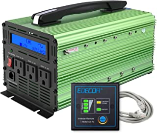EDECOA 1500W Pure Sine Wave Power Inverter Peak 3000W DC 12V to 110V 120V AC with LCD Display and Remote Controller