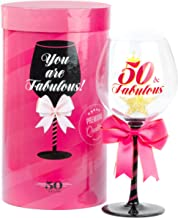 50 and Fabulous Birthday Wine Glass for Women   Fun Gift for Woman Turning Fifty Years Old   Mom, Best Friend, Aunt, Cousin, Co-Worker   Big 23 oz, 8.8 Inch Tall Wine Glass