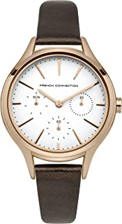 French Connection Women's QuartzWomen's Quartz Watch with White Dial Analog Display and Brown Leather Strapanalog Display and Leather Strap, FC1273TRG