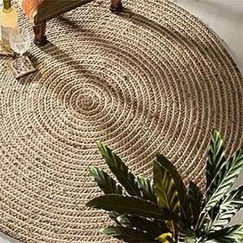 Alfombra redonda de yute y algodón 100 % trenzada de Indian Arts 90cm Diameter beige: Amazon.es: Hogar