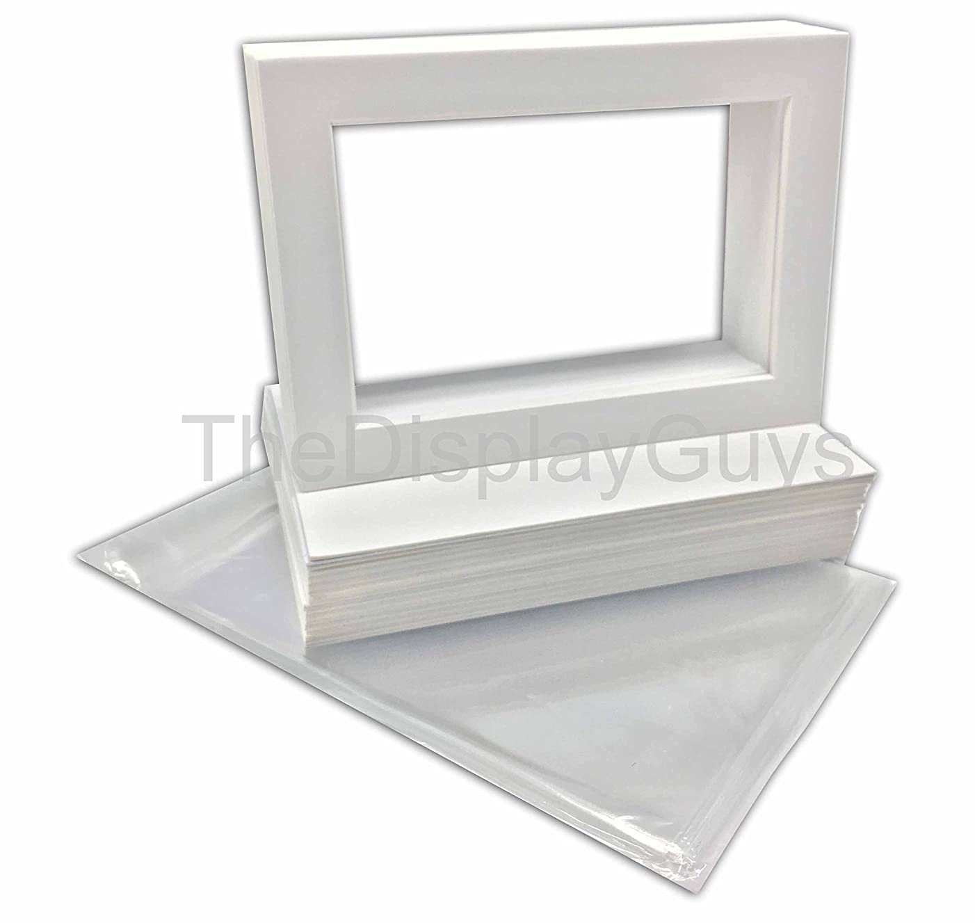 The Display Guys, 25 Sets 5x7 White Picture Photo Matting Mats Board (White Core Bevel Cut), White Back Board, Clear Plastic Bags (25pcs White Complete Set)