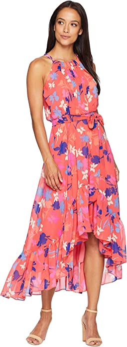 Vince Camuto Printed Chiffon Halter High-Low Dress