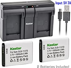 Kastar 2X Battery + USB Dual Charger for Samsung SLB-1137D Samsung i80 Samsung i85 Samsung i100 Samsung L74 Samsung Wide NV11 Wide NV24HD Wide NV30 Wide NV40 Wide NV100HD Wide NV103 Wide NV106 HD