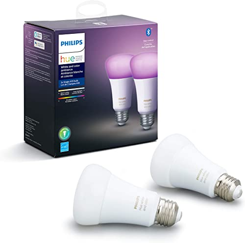 Philips Hue White and Color Ambiance 2-Pack A19 LED Smart Bulb, Bluetooth & Zigbee compatible (Hue Hub Optional), Wor...
