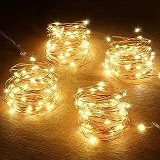 Abkshine Battery String Lights, 4 Pack 50 LED Warm White Battery-Powered Mini Christmas Fairy Lights, Battery Operated LED...