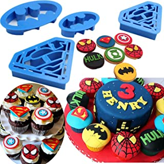Anyana 4pcs set Super Hero Batman Superman cartoon Cookie impression Cutter pastry stamp biscuit mold Sugarcraft Cake Decoration