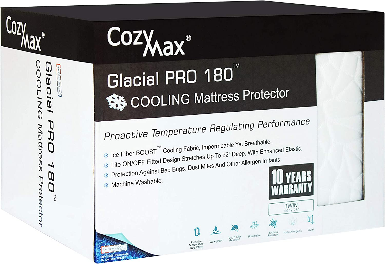 COZYMAX Glacial Pro 180 Cooling Mattress Predector-Cooling Hypoallergenic Waterproof Breathable Vinyl Free (Twin)