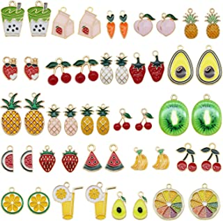 JJG 48pcs Bulk Lot Gold Plated Enamel Cherry Lemon Drinks Dainty Dangle Fruits Charms Pendant for Earrings Jewelry Making ...