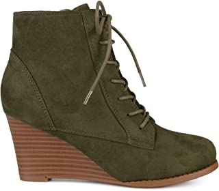 Womens Lace-up Faux Suede Stacked Wedge Booties