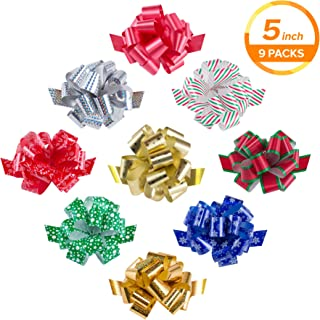 """Zoe Deco Gift Bows (Multiple Colors, 5"""" Wide, 18 Loops, 9 Pack), Weather Resistant Gift Bow, Colorful and Eye-catching Pull Bows, Bows for Gifts, Gift Bows for Presents, Gift Wrapping and Decoration"""