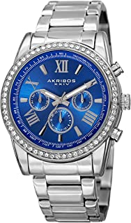 Akribos Multi-Function Swarovski Crystal Accented Steel Bracelet Watch - Three Hand Movement with Two Time Zones and Date Complication - Men's Ultimate Swiss Watch - AK868