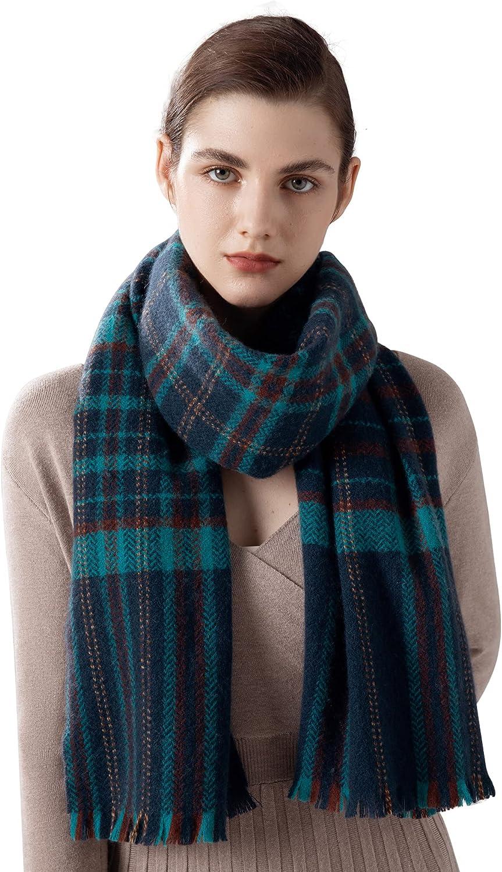 Jushkune 100% Wool Women's Scarf,Swallow Gird Plaid Scarf,Skin Friendly Comfortable Shawl, Winter Fashion Good Gift