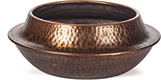 RED FIG HOME Decorative Bowl Planter Pot Indoor Outdoor Decor Accent Accessory with Aluminum Dot Hammered Texture Copper Antique Finish 13 Diameter by 5 High Inches