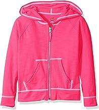 Hanes Little Girls' Slub Jersey Full Zip Jacket, Amaranth, Large