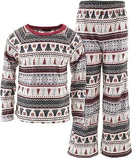 Cuddl Duds Boys Black Bear Fair Isle Pajamas