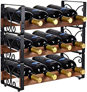 X-cosrack Rustic 3 Tier Stackable Wine Rack Freestanding 12 Bottles Organizer Holder Stand Countertop Liquor Storage Shelf...