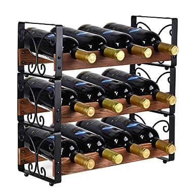 X-cosrack Rustic 3 Tier Stackable Wine Rack Freestanding 12 Bottles Organizer Holder Stand Countertop Liquor Storage Shelf Solid Wood & Iron 16.5  L x 7.0  W x 16.5  H-Patent Pending