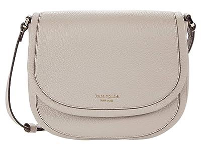 Kate Spade New York Roulette Large Saddle Bag (Warm Taupe) Handbags