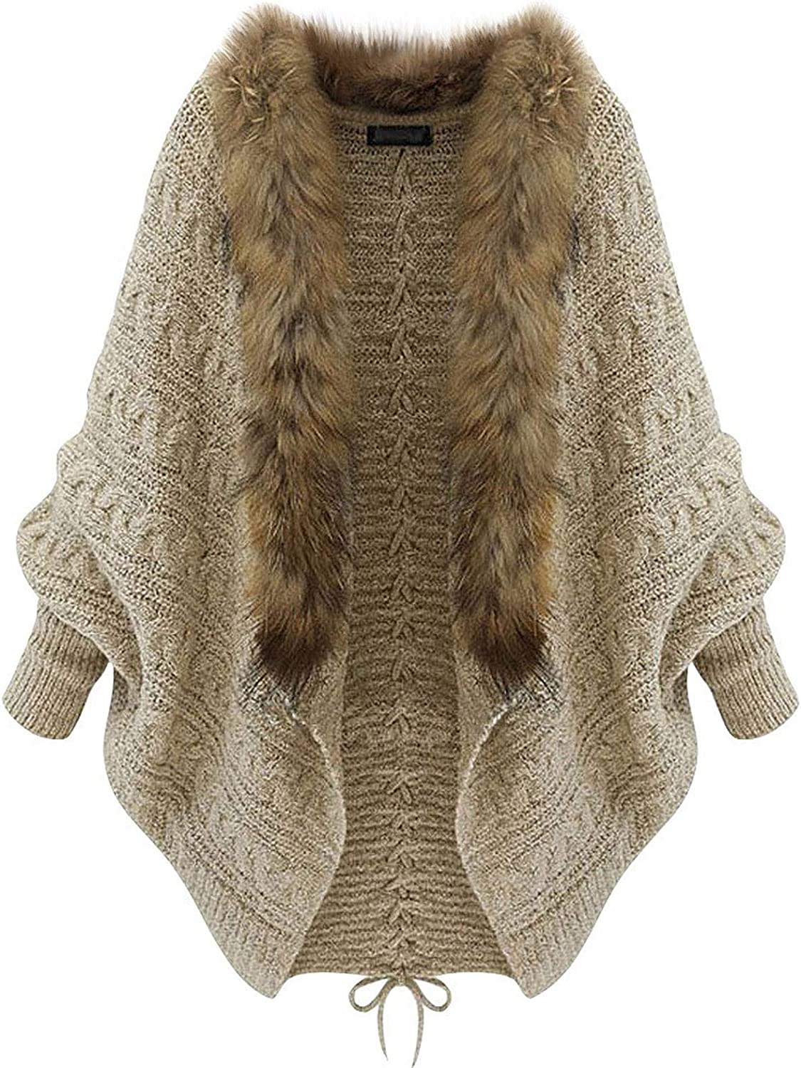 Forwelly Sweater Cardigan for Womens Casual Batwing Sleeve Knit Jacket Overcoat Fashion Plain Open Front Coat