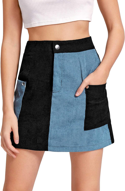 WDIRARA Women's Corduroy Colorblock Pocket Casual High Waist Mini Skirt