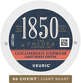 1850 By Folgers Coffee, Colombian Express Light Roast Single Origin Coffee, K Cup Pods for Keurig Coffee Makers, 60Count