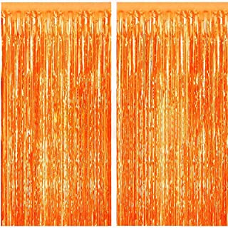 FECEDY 2pcs 3ft x 8.3ft Orange Fringe Curtains Photo Booth Props for Birthday Bridal Shower Baby Shower Bachelorette Holid...