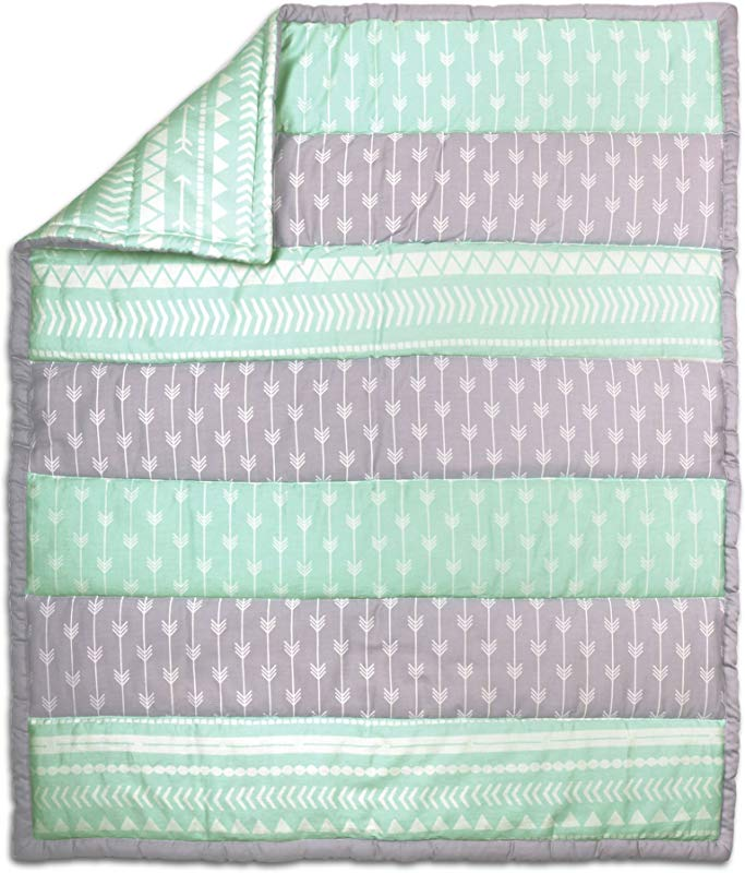 Mint Green And Grey Tribal Design 100 Cotton Crib Quilt By The Peanut Shell
