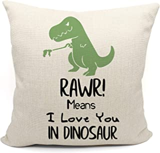 Mancheng-zi RAWR Means I Love You in Dinosaur Pillow case for Son, Daughter, Children, Dinosaur Room Decor, Funny Tyrannos...