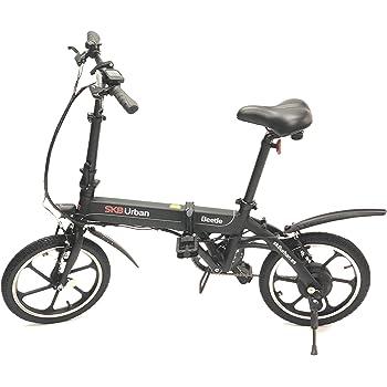 SK8 eBike Urban Beetle Bicicleta eléctrica plegable, Negro: Amazon ...