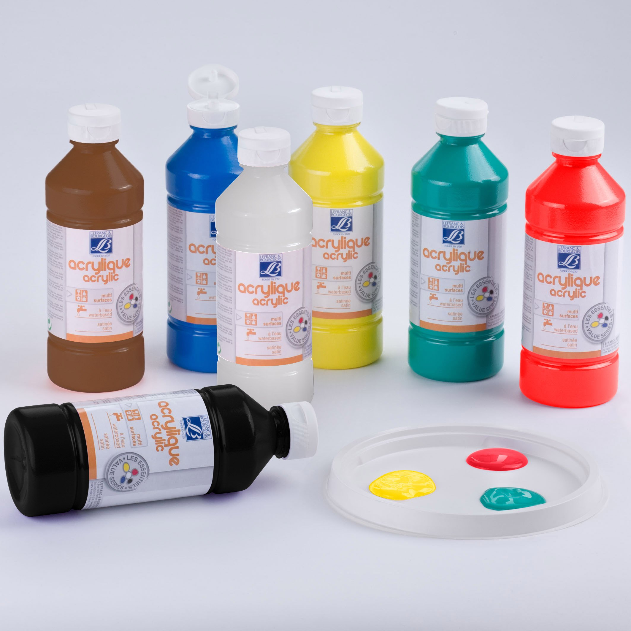 Lefranc & Bourgeois - Pack de acrílico líquido, 10 frascos de 500 ml , color/modelo surtido: Amazon.es: Juguetes y juegos