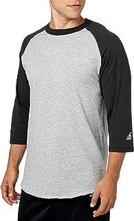 Men's Triple Stripe ¾ Sleeve Heather Baseball Shirt (Black, XL)