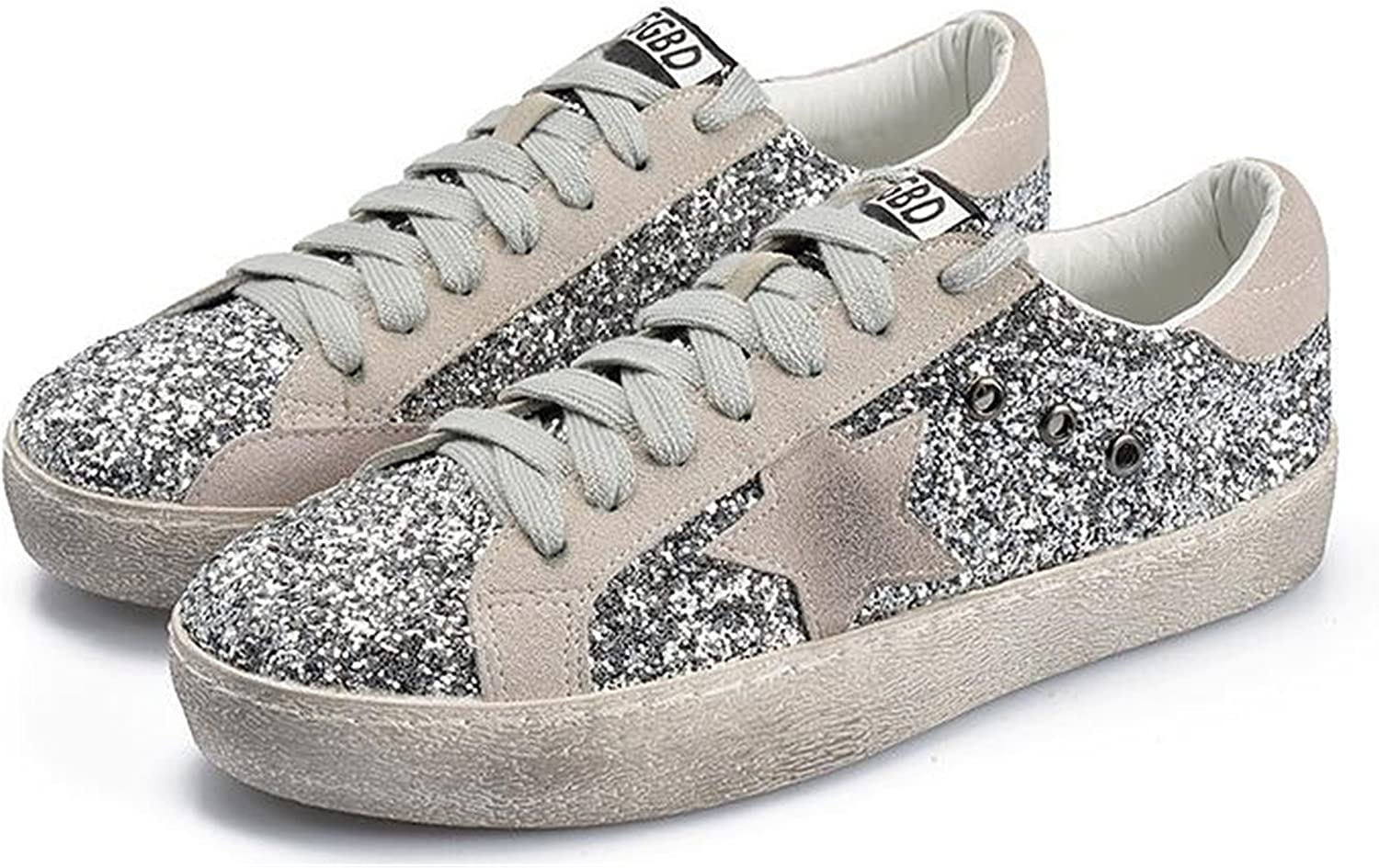 Henraly shoes Glitter Leather Do Old Dirty shoes Mixed color Women Sequins Star golden Fleeces Trainers
