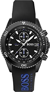 Hugo Boss Men's Black Dial Blue & Blk Silicone Watch - 1513776