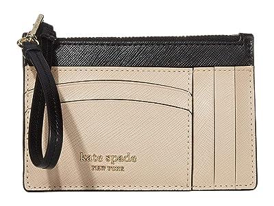 Kate Spade New York Spencer Card Holder Wristlet (Warm Beige/Black) Wallet