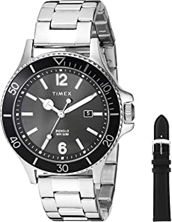Men's TWG019700 Harborside Silver-Tone/Black Stainless Steel Bracelet Watch Gift Set + Black Genuine Leather Strap