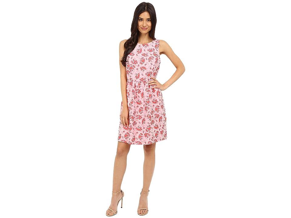 kensie Tropical Brocade Dress KS5K7936 (Hot Coral Combo) Women