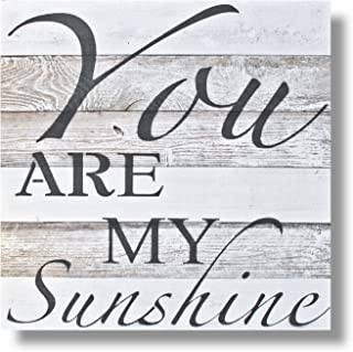 Beach Frames Washed Extra Reclaimed Wood You are My Sunshine Black Lettering Wall Art/Sign, X-Large, White