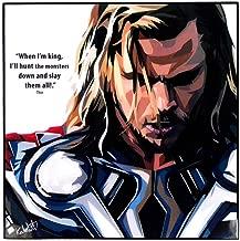 "Pop Art Marvel Superhero Quotes [ Thor ] Avengers Framed Acrylic Canvas Poster Prints Artwork Modern Wall Decor, 10""x10"""