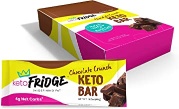 Keto Fridge Chocolate Crunch Keto Bar - 4 Net Carbs, Low Glycemic, Low Carb, NO Sugar Added - Keto Snack (12 Count)