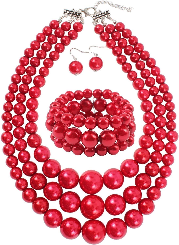Shineland Elegant 3-Layers Simulated Pearl Strand Cluster Collar Bib Choker Costume Jewelry Sets
